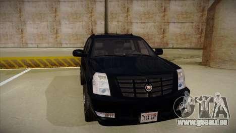 Cadillac Escalade 2011 Unmarked FBI pour GTA San Andreas laissé vue