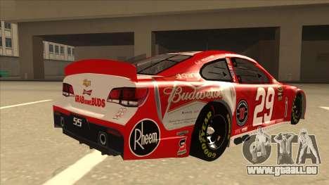 Chevrolet SS NASCAR No. 29 Budweiser für GTA San Andreas rechten Ansicht
