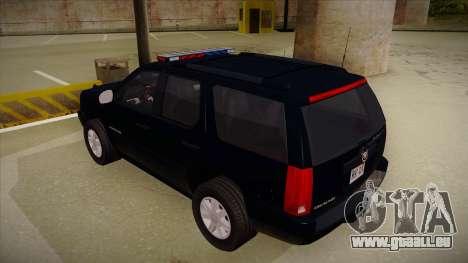 Cadillac Escalade 2011 FBI pour GTA San Andreas vue arrière