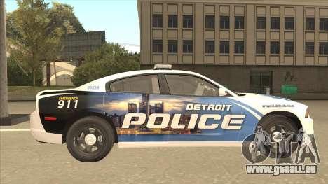 Dodge Charger Detroit Police 2013 pour GTA San Andreas sur la vue arrière gauche
