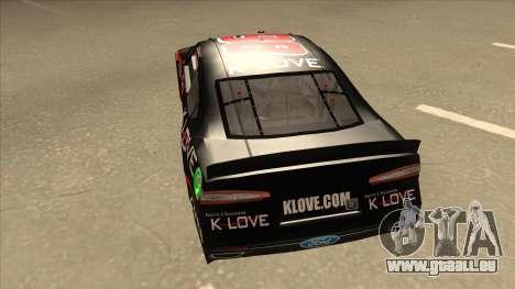 Ford Fusion NASCAR No. 98 K-LOVE pour GTA San Andreas vue arrière