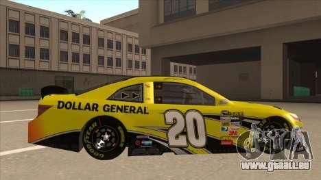Toyota Camry NASCAR No. 20 Dollar General für GTA San Andreas zurück linke Ansicht