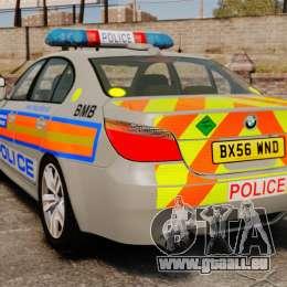 BMW M5 E60 Metropolitan Police 2006 ARV [ELS] pour GTA 4 Vue arrière de la gauche