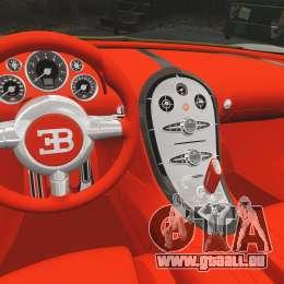Bugatti Veyron Gold Centenaire 2009 pour GTA 4 est une vue de l'intérieur