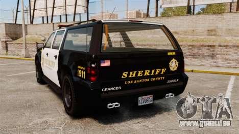 GTA V Declasse Granger Sheriff für GTA 4 hinten links Ansicht