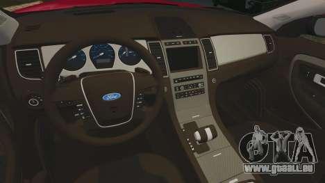 Ford Taurus SHO 2010 pour GTA 4 est une vue de l'intérieur