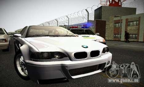 BMW E46 M3 CSL pour GTA San Andreas sur la vue arrière gauche