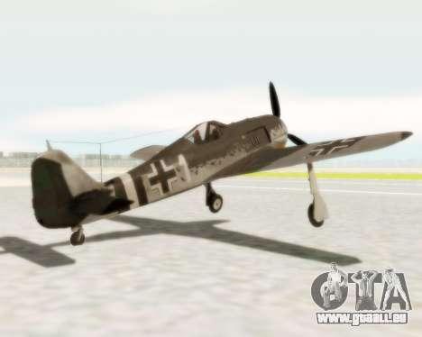 Focke-Wulf FW-190 A5 pour GTA San Andreas sur la vue arrière gauche