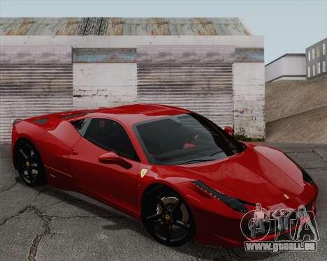 Ferrari 458 Italia 2010 für GTA San Andreas Rückansicht
