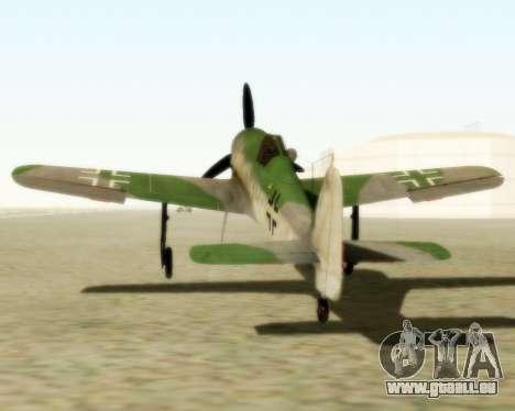 Focke-Wulf FW-190 D12 pour GTA San Andreas sur la vue arrière gauche