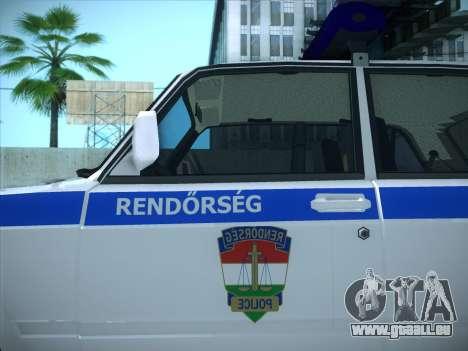 Lada 2107 Rendőrség pour GTA San Andreas sur la vue arrière gauche