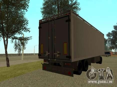 Remorque pour Kamaz 54115 pour GTA San Andreas sur la vue arrière gauche