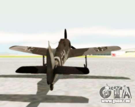 Focke-Wulf FW-190 A5 pour GTA San Andreas vue de droite