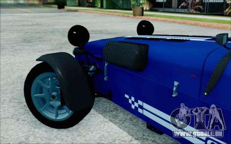 Caterham R500 Superlight 2008 pour GTA San Andreas sur la vue arrière gauche