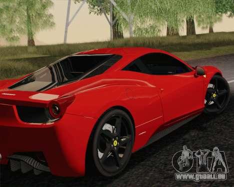 Ferrari 458 Italia 2010 für GTA San Andreas linke Ansicht