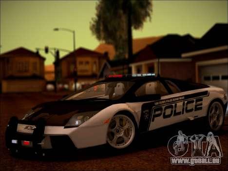 Lamborghini Murciélago Police 2005 pour GTA San Andreas vue arrière