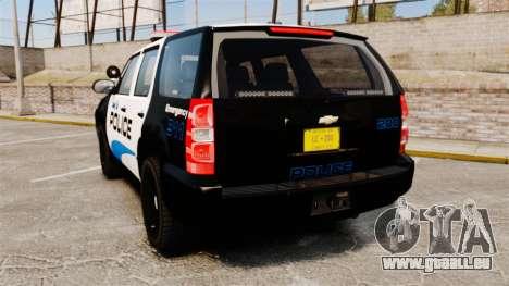 Chevrolet Tahoe Police [ELS] pour GTA 4 Vue arrière de la gauche