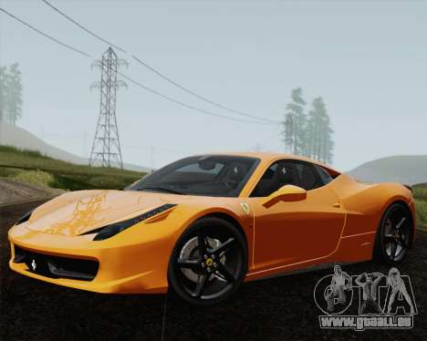 Ferrari 458 Italia 2010 für GTA San Andreas obere Ansicht