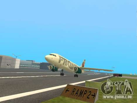 Airbus A319-111 Frontier Airlines Red Foxy pour GTA San Andreas vue de dessus