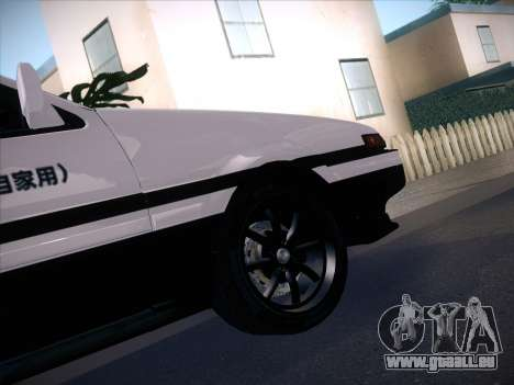 Toyota Trueno AE86 Initial D 4th Stage für GTA San Andreas zurück linke Ansicht