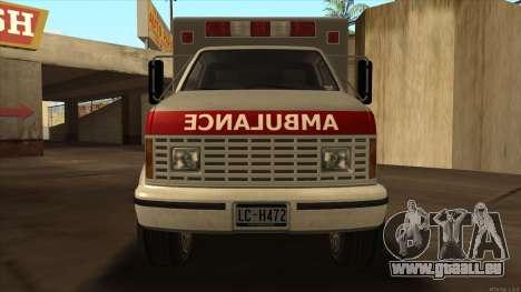 Ambulance HD from GTA 3 pour GTA San Andreas sur la vue arrière gauche
