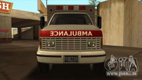 Ambulance HD from GTA 3 für GTA San Andreas zurück linke Ansicht