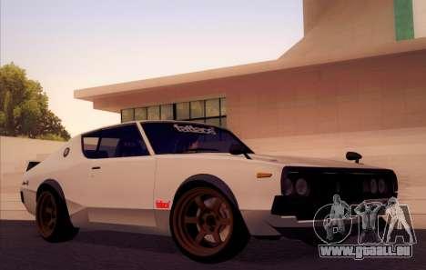 Nissan Skyline KPGC110 Fatlace pour GTA San Andreas vue de côté