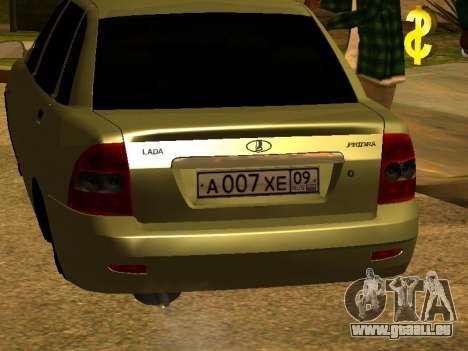 Lada 2170 Priora Gold pour GTA San Andreas vue arrière