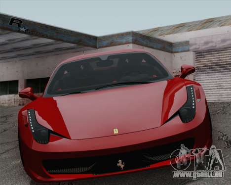 Ferrari 458 Italia 2010 für GTA San Andreas Innenansicht