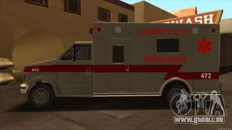 Ambulance HD from GTA 3 für GTA San Andreas linke Ansicht
