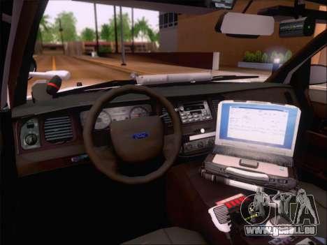 Ford Crown Victoria San Andreas State Trooper pour GTA San Andreas vue de dessus