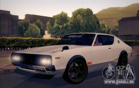 Nissan Skyline KPGC110 Fatlace pour GTA San Andreas vue arrière