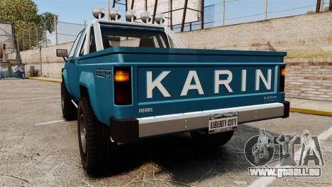 Karin Rebel 4x4 v2.0 pour GTA 4 Vue arrière de la gauche