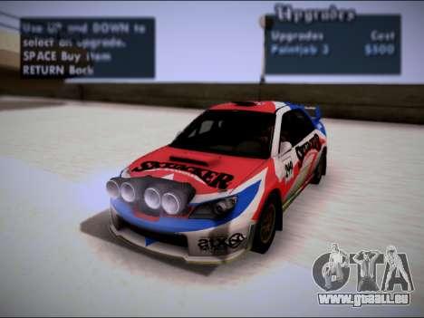Subaru Impreza WRX STI WRC pour GTA San Andreas vue intérieure