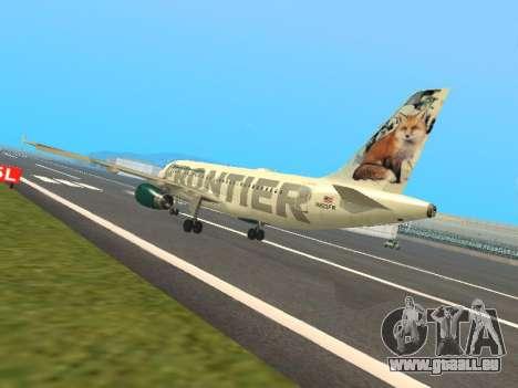 Airbus A319-111 Frontier Airlines Red Foxy für GTA San Andreas zurück linke Ansicht