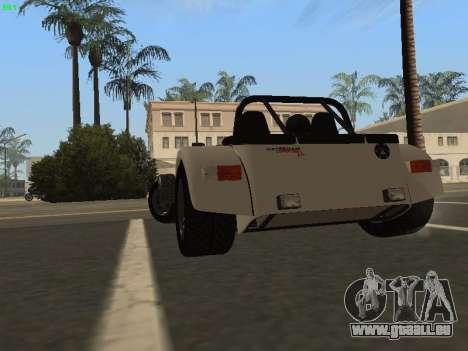 Caterham 7 Superlight R500 pour GTA San Andreas sur la vue arrière gauche