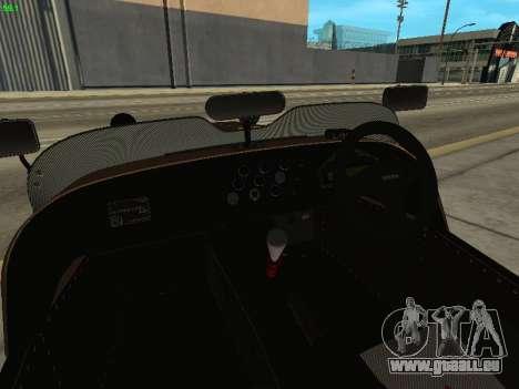 Caterham 7 Superlight R500 pour GTA San Andreas vue intérieure
