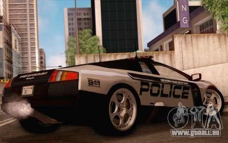 Lamborghini Murciélago Police 2005 pour GTA San Andreas vue de dessus