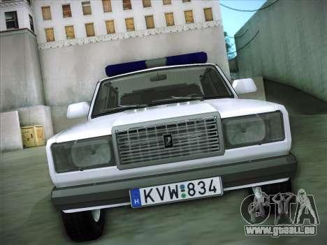 Lada 2107 Rendőrség pour GTA San Andreas vue arrière