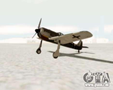 Focke-Wulf FW-190 A5 pour GTA San Andreas laissé vue