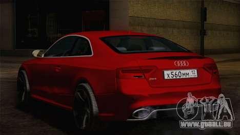 Audi RS5 2012 für GTA San Andreas zurück linke Ansicht