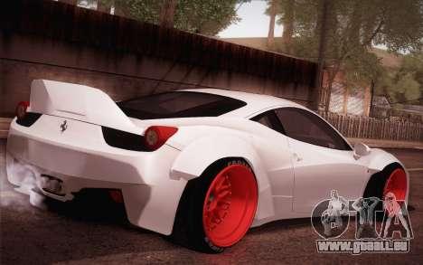 Ferrari 458 Italia Liberty Walk LB Performance pour GTA San Andreas sur la vue arrière gauche