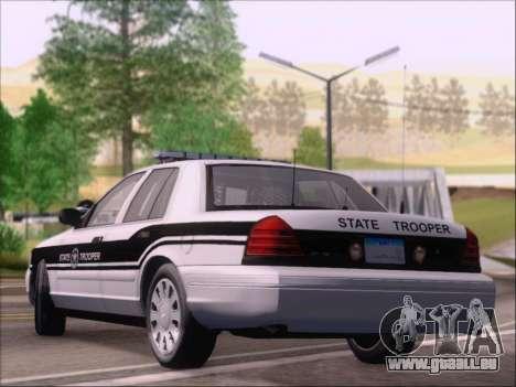 Ford Crown Victoria San Andreas State Trooper pour GTA San Andreas sur la vue arrière gauche
