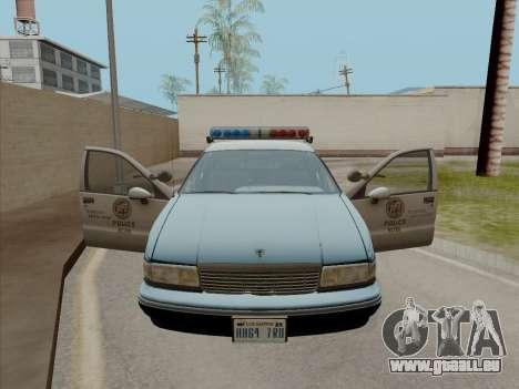 Chevrolet Caprice LAPD 1991 für GTA San Andreas zurück linke Ansicht