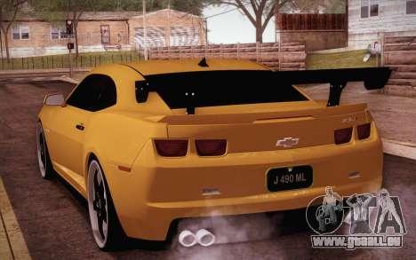 Chevrolet Camaro ZL1 pour GTA San Andreas laissé vue