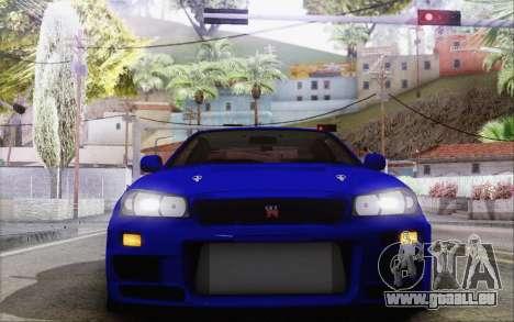 Nissan Skyline GT-R34 für GTA San Andreas Innenansicht