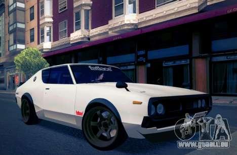 Nissan Skyline KPGC110 Fatlace pour GTA San Andreas sur la vue arrière gauche