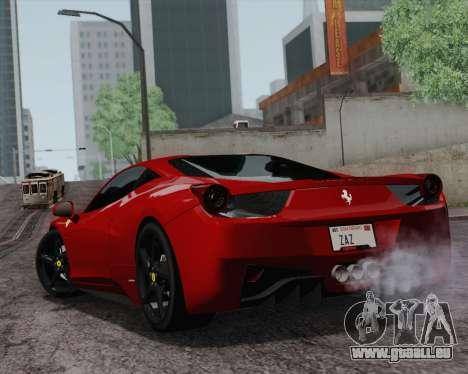 Ferrari 458 Italia 2010 für GTA San Andreas zurück linke Ansicht