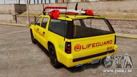 GTA V Declasse Granger 3500LX Lifeguard pour GTA 4 Vue arrière de la gauche