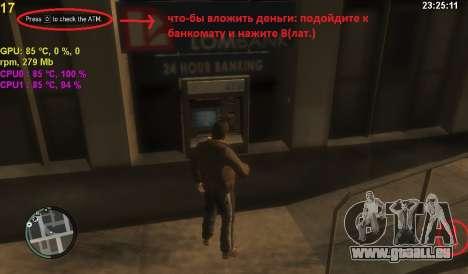Compte au guichet automatique pour GTA 4 secondes d'écran